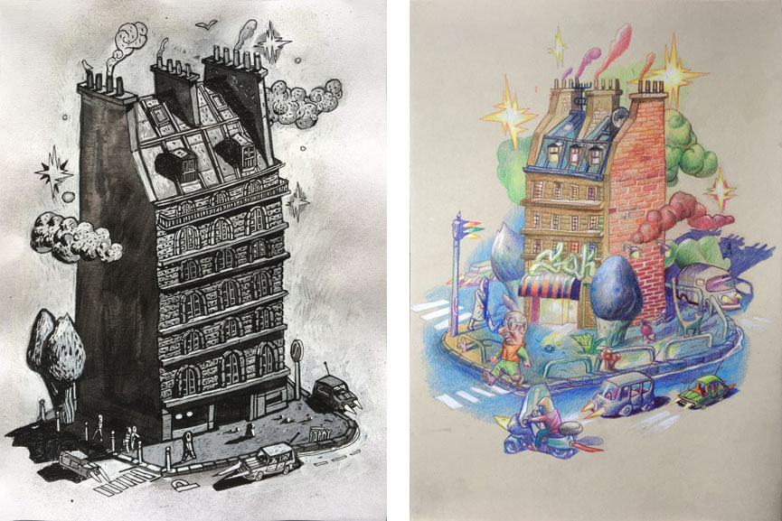 Left Popay - Edifice, 2017 Right Popay - Extrait de Ville, 2017