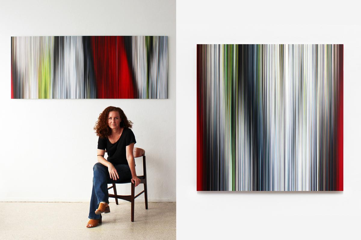 Left Portrait of the artist Right Doris Marten Light'n'Lines No.8