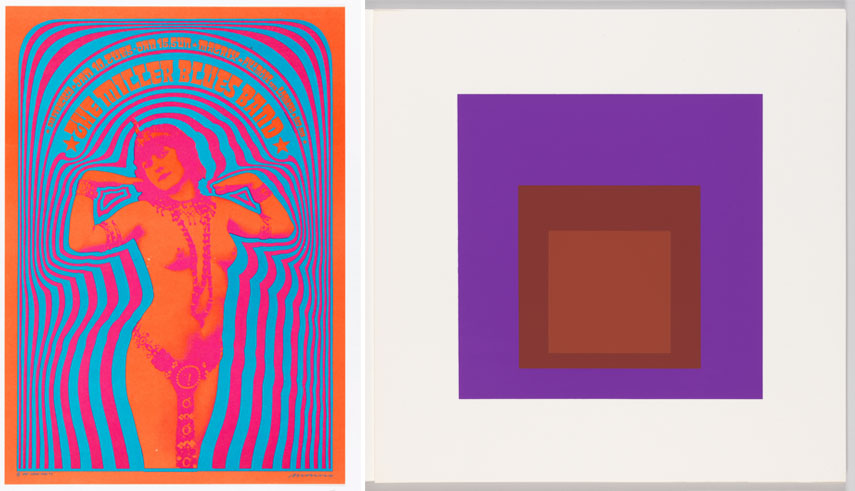Left Poster, The Miller Blues Band, 1967 Right Print, Palatial, Homage to the Square, Soft Edge – Hard Edge, 1965