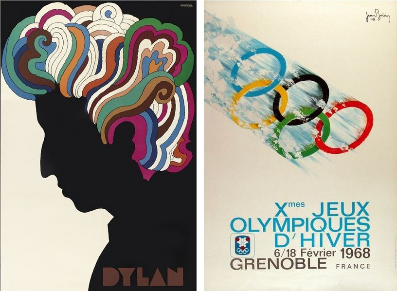Left: Poster for musician Bob Dylan, designed by Milton Glaser, 1967, via eitb.eus / Right: The Poster for Winter Olympics i Grenoble, 1968, via cintagewuropeanposters.com