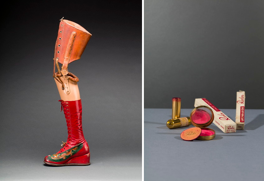 Left Prosthetic leg with leather boot. Appliquéd silk with embroidered Chinese motifs Right Revlon compact and powderpuff with blusher in 'Clear Red'