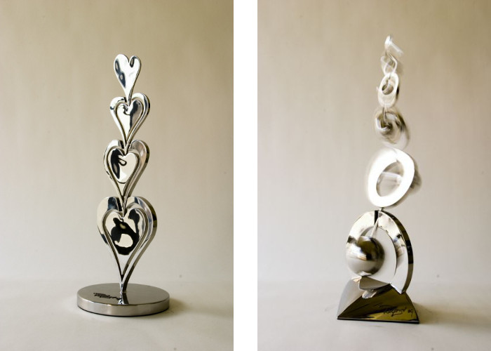 Left Ralfonso - Sabrina, 2010, Right Ralfonso - Dance With the Wind (small sculptures)