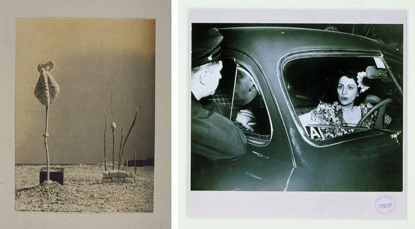 Raoul Ubac - Model for an Irrational Landscape, 1935, Weegee - Sudden death for one Sudden shock for the other, ca 1940