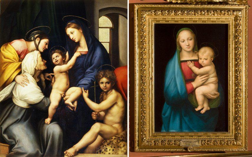 Left Raphael - Madonna dell'Impannata Right Raphael - Madonna with child