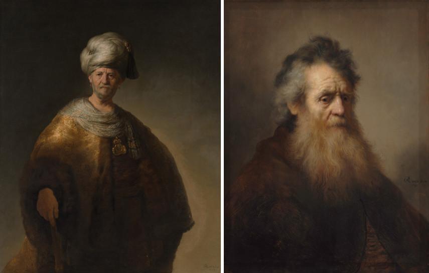 Left Rembrandt van Rijn - A Man in Oriental Dress Right Rembrandt van Rijn - Bearded Old Man