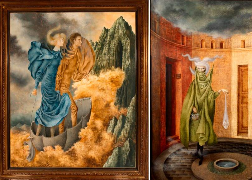 Left Remedios Varo - La huida Right Remedios Varo - Mujer Saliendo