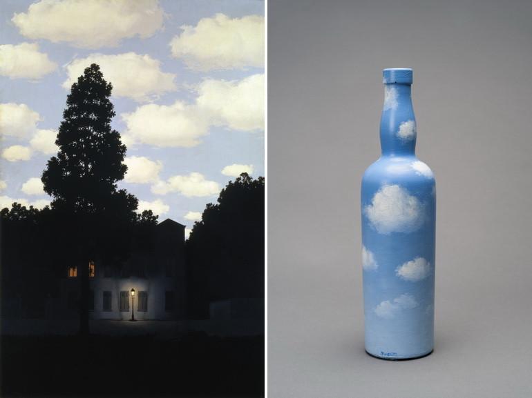 Left René Magritte - L'empire des lumières (The Dominion of Light), 1954 Right René Magritte - La courbure de l'universe