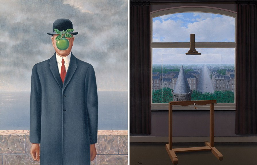 Left René Magritte - Le fils de l'homme (The Son of Man), 1964 Right René Magritte - Les promenades d'Euclide (Where Euclid Walked), 1955