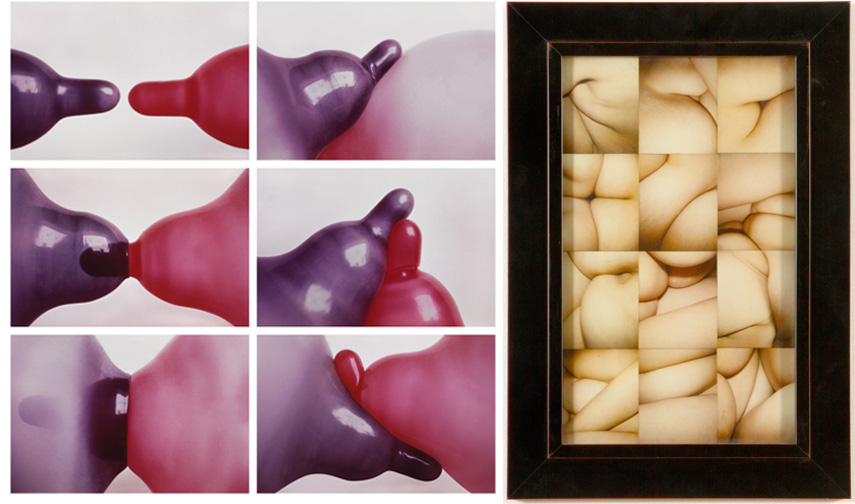 Left RenateBertlmann - Tendres caresses, 1976-2009 Right GenesisBreyer p-orridge -Amnion Folds Study, 2002
