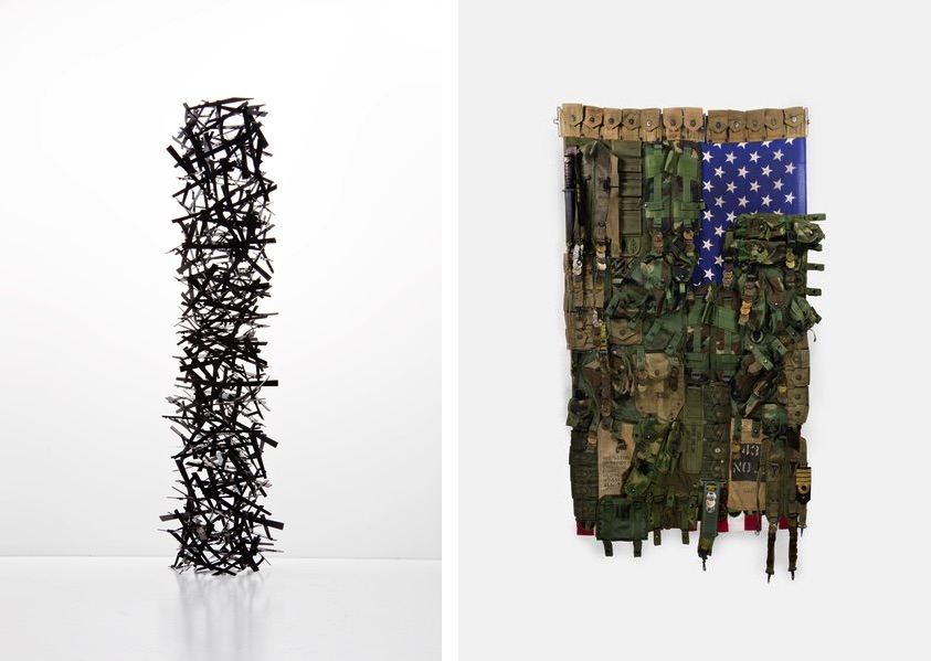 Ricardo Cardenas - Nest Column, 2017, Sara Rahbar - Flag #54 America, 2017; check out the booth of each exhibitor