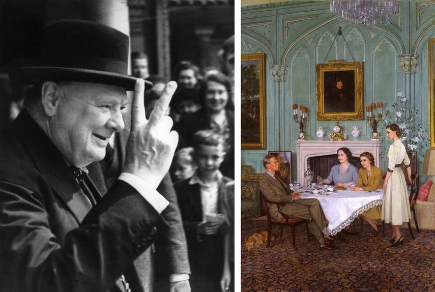 Robert Elliot - Winston Churchill, 1943, Sir James Gunn, Conversation Piece at the Royal Lodge, Windsor, 1950, images from The Royal Family Archive