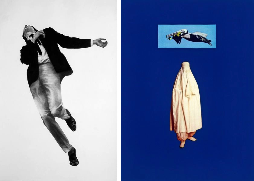 Robert Longo - Men in the cities, art from 1979-82, Sarah Charlesworth - Bird Woman, art from 1986