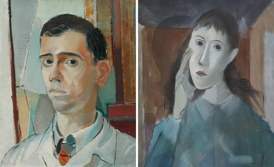 Left Roberto Burle-Marx - Portrait of a young man Right Milton Dacosta - Head of a Girl
