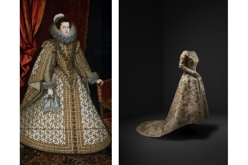 Rodrigo de Villandrando - Isabel de Borbon, Wife of Philip IV, 1620, Wedding dress, slik shantung embroidered with silver thread