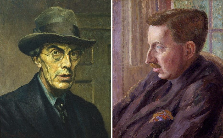 Left Roger Fry - Self portrait Right Dora Carrington - Portrait of E M Forster