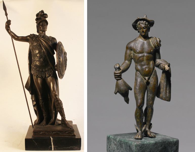 Roman Soldier bronze sculpture / A Roman Bronze Figure bronze sculpture