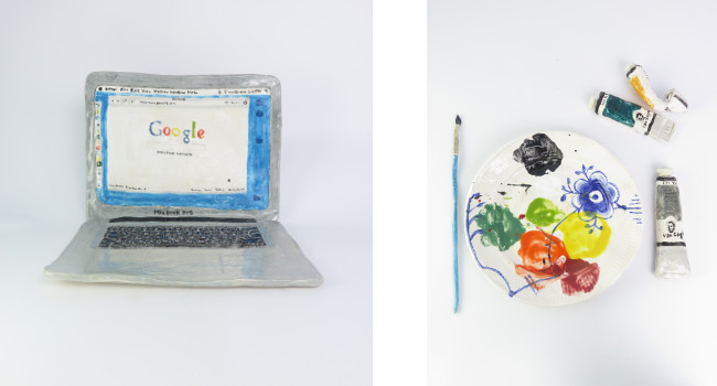 Left - Rose Eker - Mac Book Pro, 2015, Right - Rose Eken - Mega Mussel Palette and Blue Brush, 2015, photo courtesy of V1 Gallery