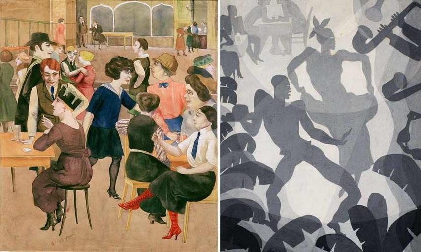Left Rudolf Schlichter - Damenkneipe Right Aaron Douglas - Dance