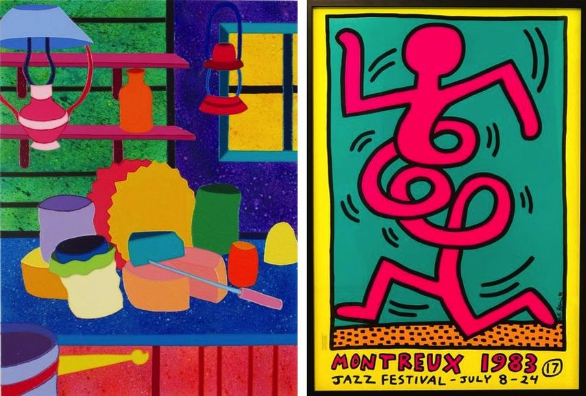 Sabina Forbes II - Kitch-en Cheese, 2014, Keith Haring - Montreux 17 éme / Festival de Jazz (Pink), 1983