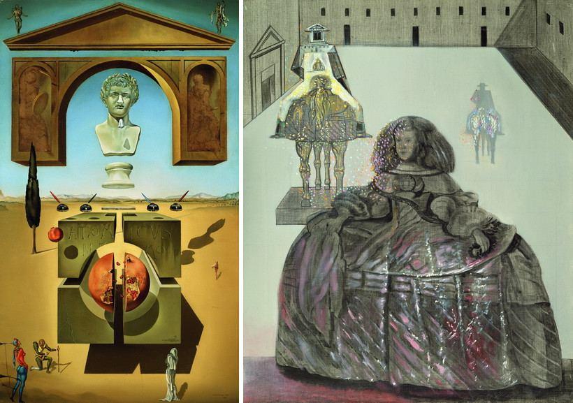 Left Salvador Dalí - Dematerialisation near the Nose of Nero Right Salvador Dalí - Untitled Ajer The Infanta Margarita