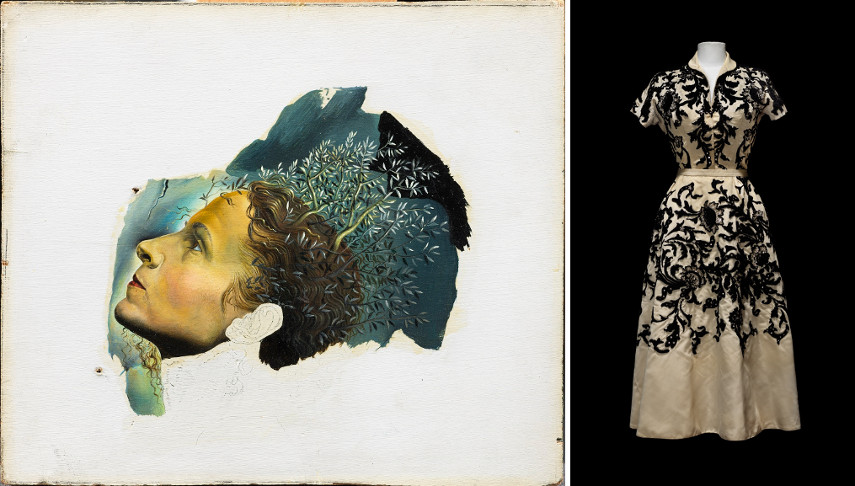 Left Salvador Dali - Automatic Beginning of a Portrait of Gala Right Musee du Louvre dress which belonged to Gala
