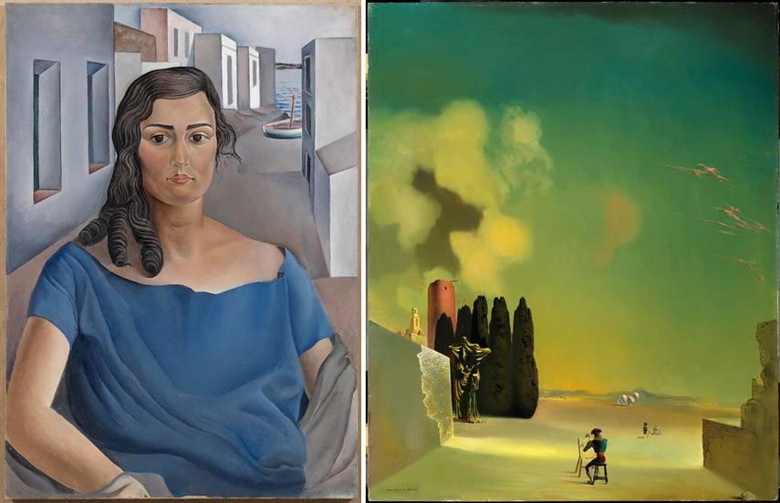 Left Salvador Dali - Portrait of a Girl in a Landscape Right Salvador Dali - Enigmatic Elements in a Landscape