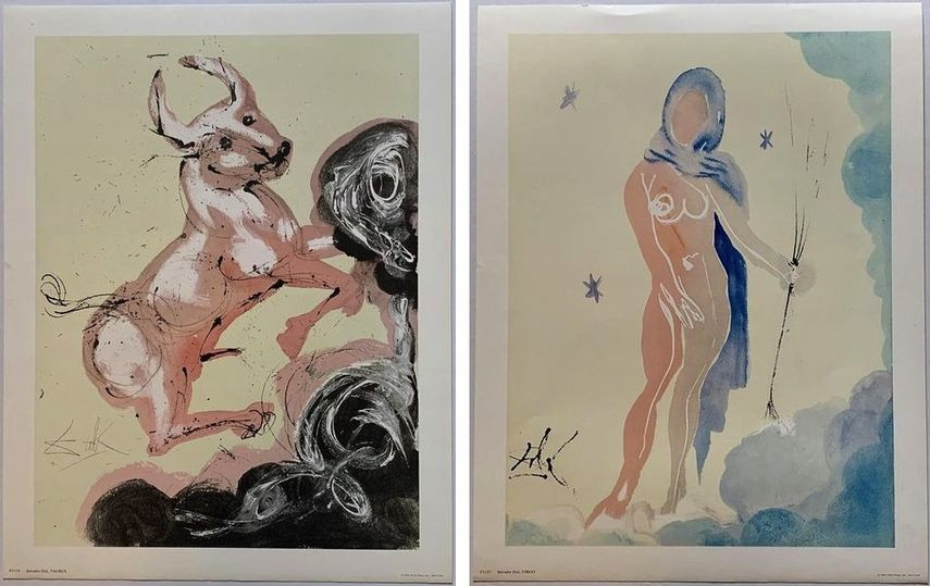 Salvador Dali - Taurus, 1969, Salvador Dali - Virgo, 1969