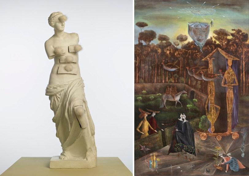 Left Salvador Dali - Venus de Milo aux tiroirs Right Leonora Carrington - Again the Gemini