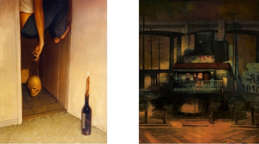 Left: Sam Wolfe Connelly - 4:30AM, Oil on Canvas / Right: Liz Brizzi -The Hideaway