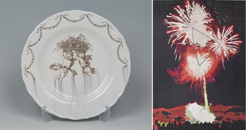 Left Sekyung Lee - Hair on the Plate Right Young In Hong - Rhythmic Flowers