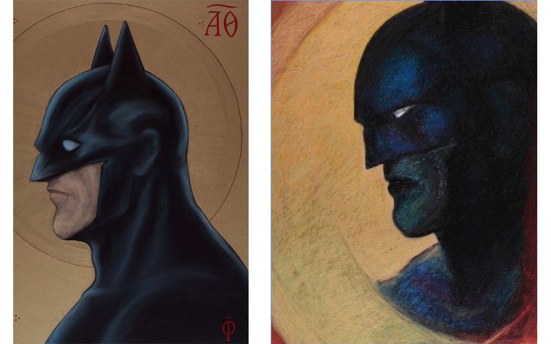 Left Serge Kliaving - Batman profil, 2012, Right Serge Kliaving - Batman #1, 2012