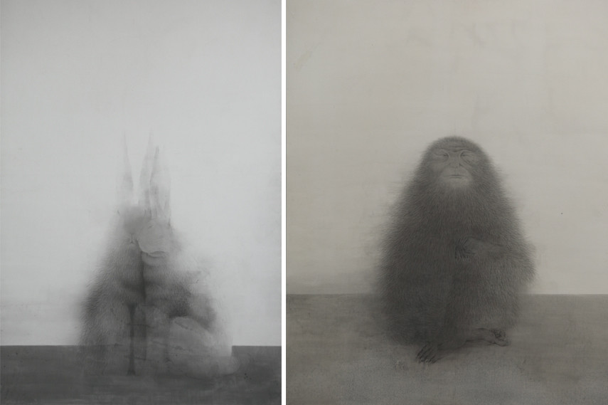 Left Shao Fan - Big Paired Rabbits, 2016 Right Shao Fan - Cross-Legged Old Ape, 2016