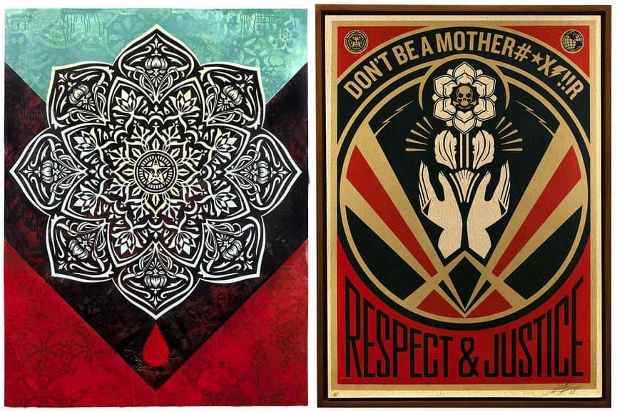 Shepard Fairey - Blood and oil mandala, Shepard Fairey - Dont Be A MFR
