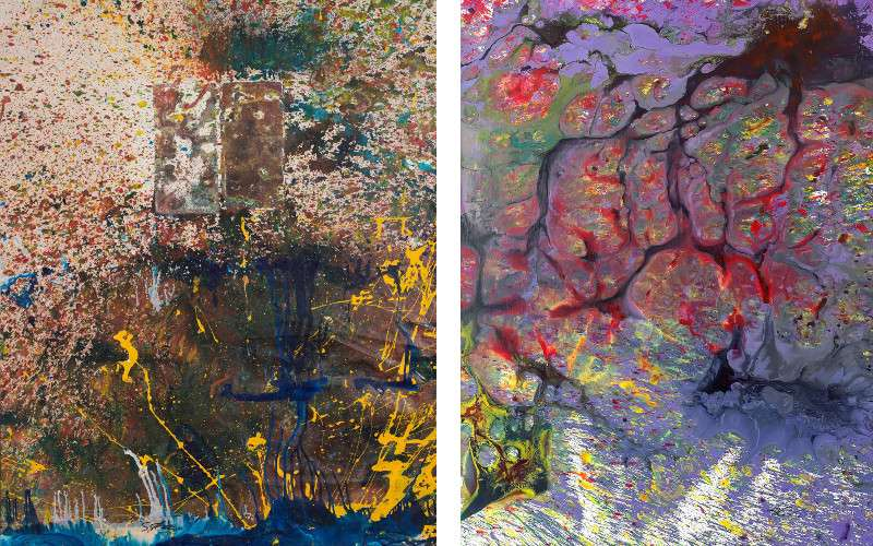 Left Shozo Shimamoto - Bottle Crash, 1997, Right Shozo Shimamoto - Performance in China 8, 2007