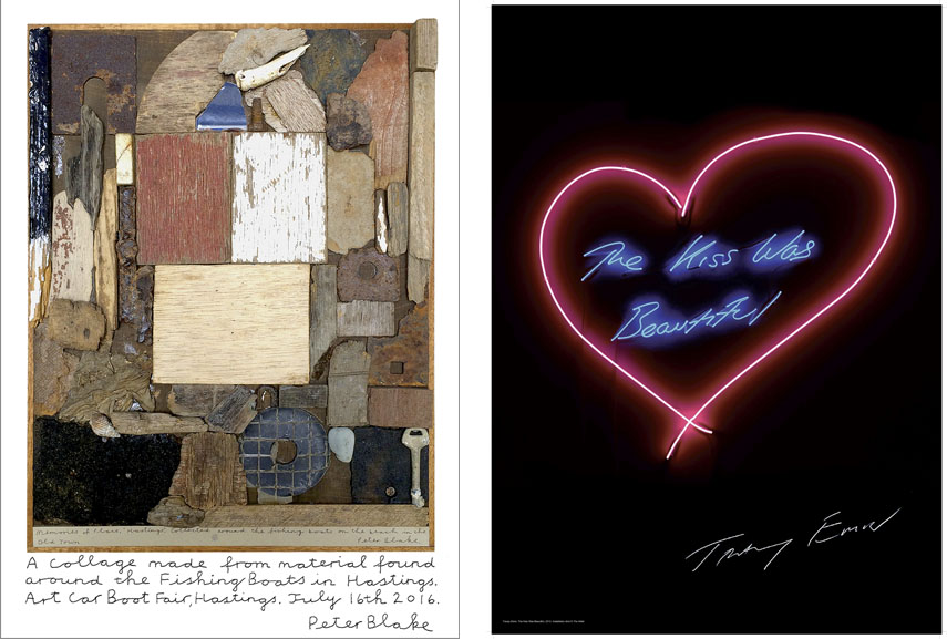 Left: Sir Peter Blake - Hastings Memories, 2016. Print, 29.7 x 21cm. Edition of 150, £100. Sir Peter Blake's new print is based on his collage work, Hastings Memories / Right: Tracey Emin - The Kiss Was Beautiful, 2016. Poster, 70 x 50cm. Edition of 500, £50. A limited edition poster made exclusively for this year's Vauxhall Art Car Boot Fair. The image is taken from the neon artwork The Kiss Was Beautiful made in 2013 and each poster is hand signed.