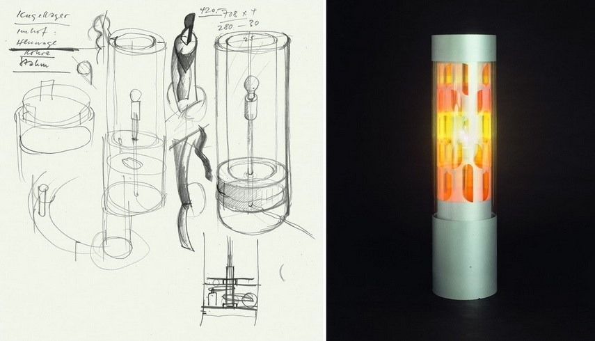 Left Sketch by Miklos von Bartha for the construction of a Dreamachine Right Dreamachine - the dream machine is an experience for the brain - through a rotating cylinder, the light flicker inside the eyelids of closed eyes