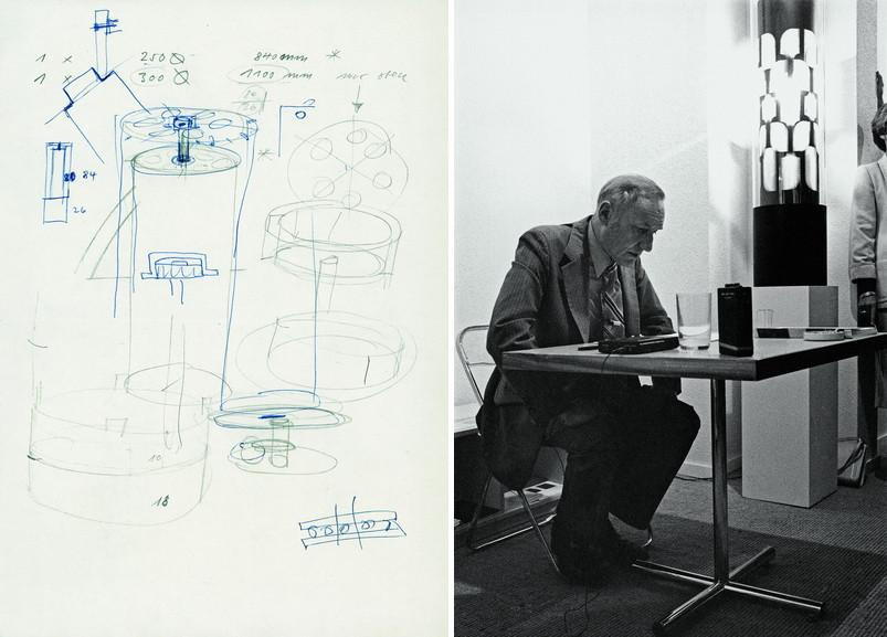 Left Sketch by Miklos von Bartha for the construction of a Dreamachine Right William S Burroughs whilst reading