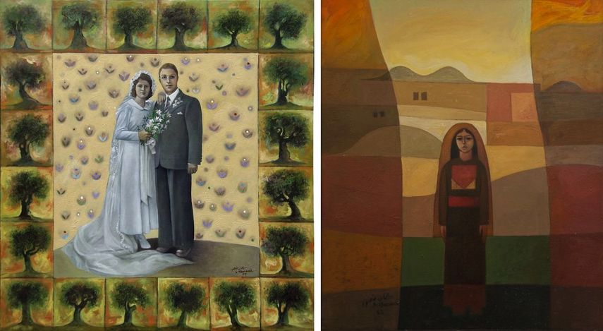 Sliman Mansour - Father and Mother on their Wedding Day, 1984, Sliman Mansour - Girl in the Village, 1982
