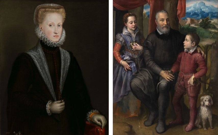 Sofonisba Anguissola - Queen Anne of Austria, c. 1573, Sofonisba Anguissola - Family Portrait, c. 1558, on view at Prado Museum in Madrid in 2019 and 2020