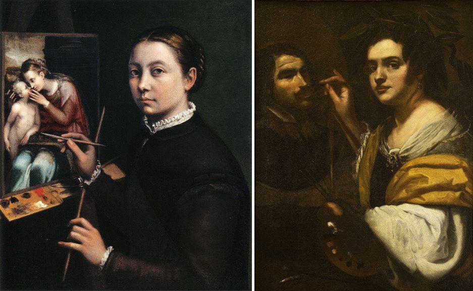 Left Sofonisba Anguissola - Self-portrait Right Artemisia Gentileschi - Self-portrait