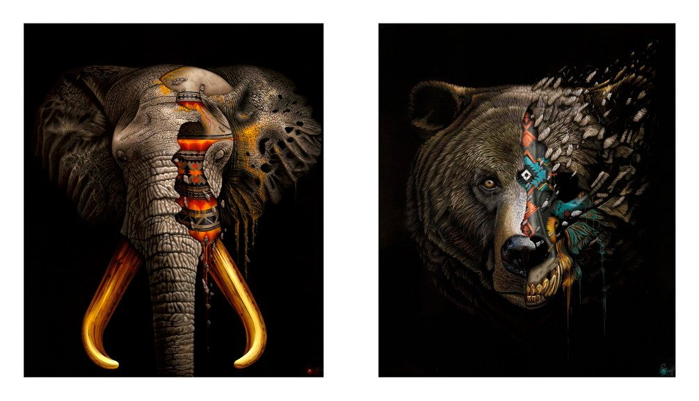 Left Sonny - Mudiwa Elephant Right Sonny - Manipi Grizzly Bear