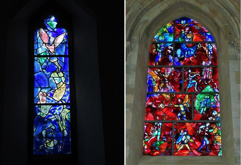 Left Stained glass side-window by Marc Chagall at All Saints Church Tudeley Right Window by Marc Chagall at Chichester Cathedral