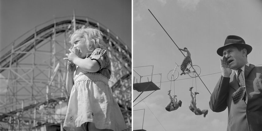 Stanley Kubrick, left - From How the Circus Gets Set, 1948, right - From Fun at an Amusement Park, LOOK Visits Palisades Park, 1947