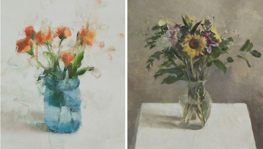 Left - Still Life with Roses and Blue Glass, 2012 - Right - Still Life with Sunflower, 2014