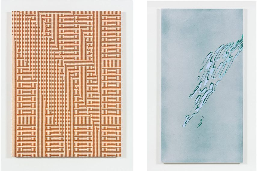 Left : Tauba Auerbach - Grain: Sierpiński Ghost I, 2015 / Right : Tauba Auerbach - Shadow Weave - Metamaterial/Slice Ray, 2013