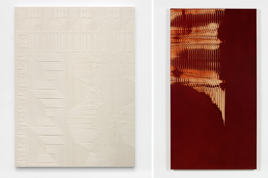 Left Tauba Auerbach - Chiral Fret (Meander)/Extrusion/Ghost, 2015 Right Tauba Auerbach - Grain Slice Maille I, 2015