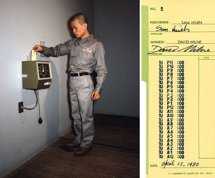 Left Tehching Hsieh - One Year Performance Punching the Time Clock Right Tehching Hsieh - One Year Performance Time Card