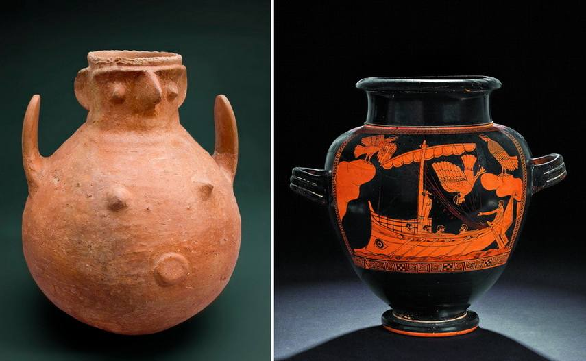 Left Terracota pot Right Odysseus and The Sirens