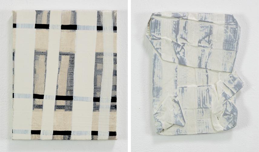 Left Terri Brooks - White Black Construction, 2018 Right Terri Brooks - Flattened Package, 2018