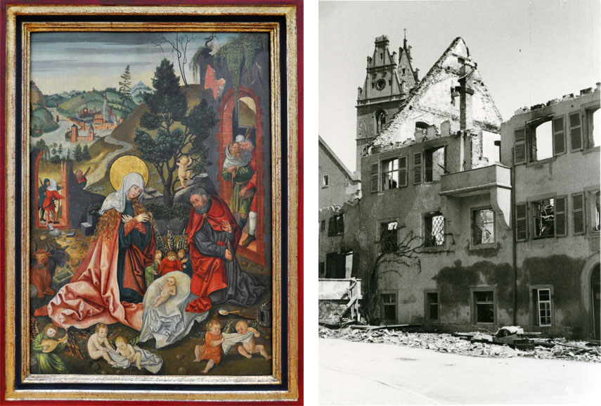 Left The late gothic adoration from the 'Collection' Hermann Göring was regarded missing since 1945, purchased for Friedrichshafen in 1959 Right Image of the ruins of the 'Städtischen Museum' 1944